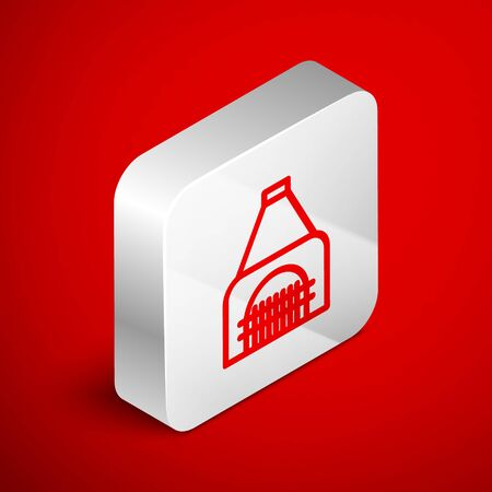 Isometric line Interior fireplace icon isolated on red background. Silver square button. Vector Illustration Banque d'images - 138251075