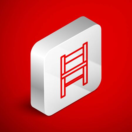 Isometric line Chair icon isolated on red background. Silver square button. Vector Illustration Foto de archivo - 138251090
