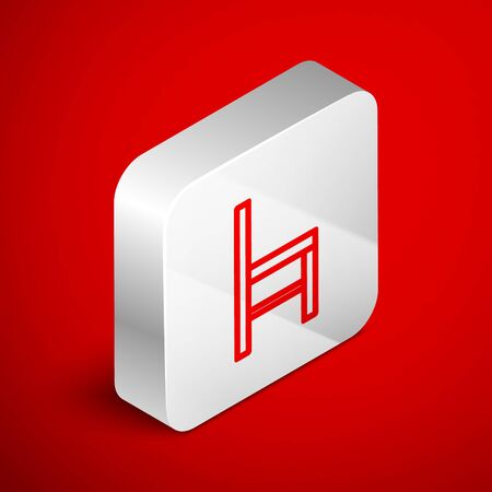 Isometric line Chair icon isolated on red background. Silver square button. Vector Illustration Foto de archivo - 138251092