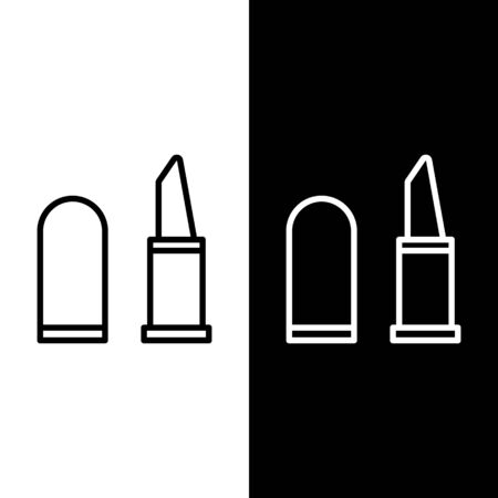 Set line Lipstick icon isolated on black and white background. Vector Illustration
