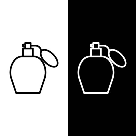 Set line Perfume icon isolated on black and white background. Vector Illustration