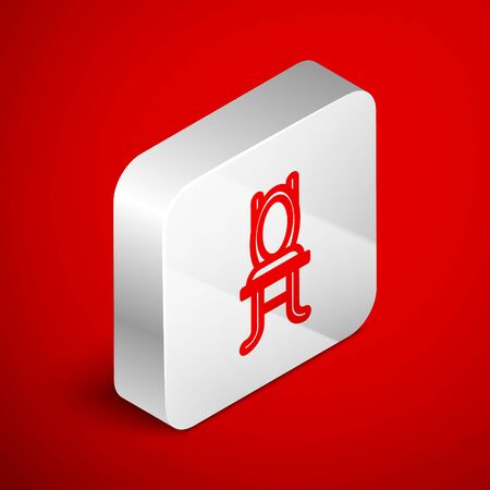 Isometric line Chair icon isolated on red background. Silver square button. Vector Illustration Foto de archivo - 138250990