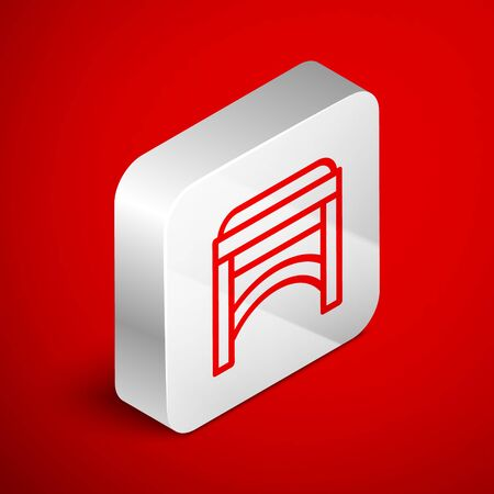 Isometric line Chair icon isolated on red background. Silver square button. Vector Illustration Foto de archivo - 138251011
