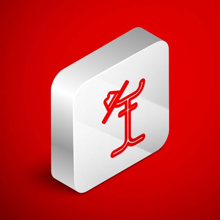 Isometric line Coat stand icon isolated on red background. Silver square button. Vector Illustration