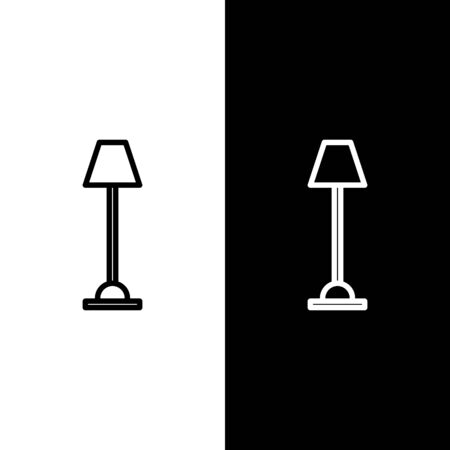 Set line Floor lamp icon isolated on black and white background. Vector Illustration Illustration