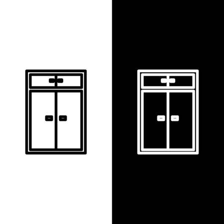 Set line Wardrobe icon isolated on black and white background. Vector Illustration Ilustracja