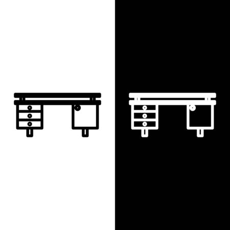 Set line Office desk icon isolated on black and white background. Vector Illustration Foto de archivo - 138250609