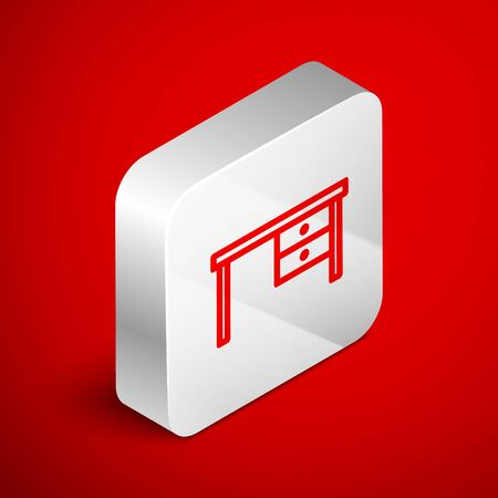 Isometric line Office desk icon isolated on red background. Silver square button. Vector Illustration Foto de archivo - 138250610