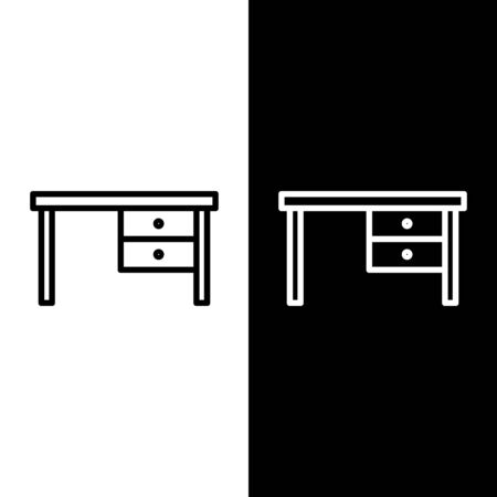 Set line Office desk icon isolated on black and white background. Vector Illustration Vector Illustration