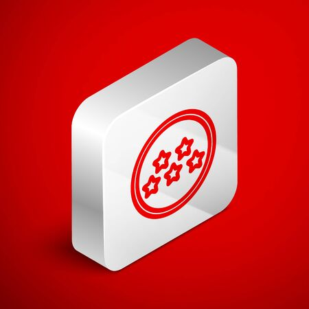 Isometric line Five stars customer product rating review icon isolated on red background. Favorite, best rating, award symbol. Silver square button. Vector Illustration Foto de archivo - 138250746