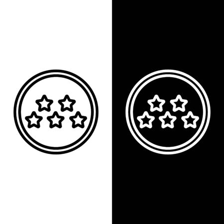 Set line Five stars customer product rating review icon isolated on black and white background. Favorite, best rating, award symbol. Vector Illustration Foto de archivo - 138250847