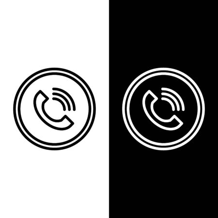 Set line Phone call icon isolated on black and white background. Vector Illustration