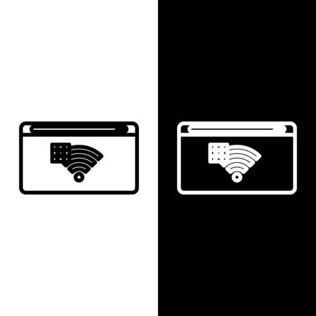 Set line No Internet connection icon isolated on black and white background. No wireless wifi or sign for remote internet access. Vector Illustration