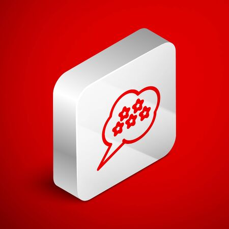 Isometric line Five stars customer product rating review icon isolated on red background. Favorite, best rating, award symbol. Silver square button. Vector Illustration Foto de archivo - 138250939