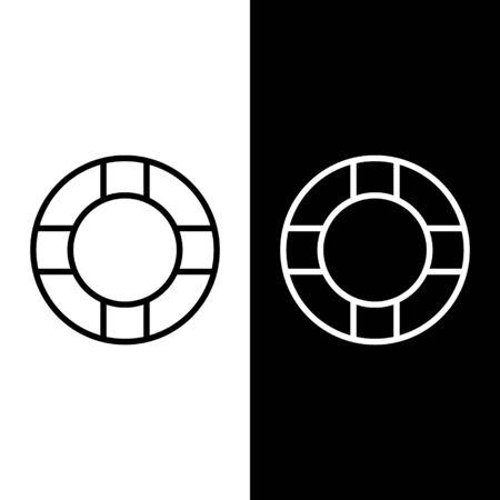 Set line Lifebuoy icon isolated on black and white background. Lifebelt symbol. Vector Illustration Illustration