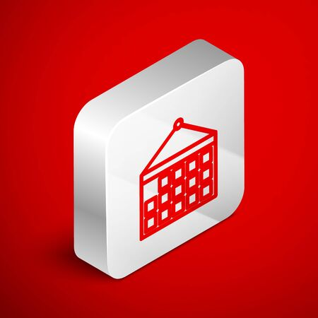 Isometric line Calendar icon isolated on red background. Event reminder symbol. Silver square button. Vector Illustration Ilustrace