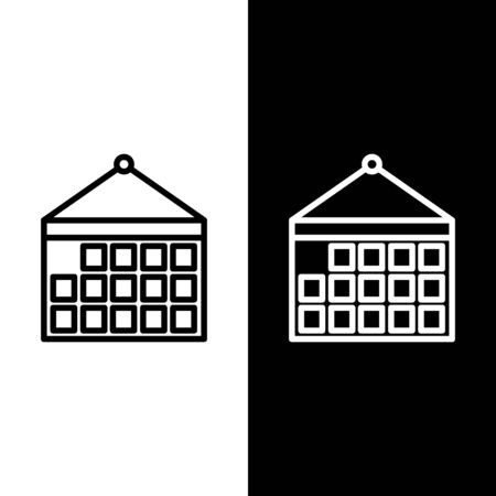 Set line Calendar icon isolated on black and white background. Event reminder symbol. Vector Illustration