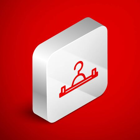 Isometric line Hanger wardrobe icon isolated on red background. Cloakroom icon. Clothes service symbol. Laundry hanger sign. Silver square button. Vector Illustration Ilustracja