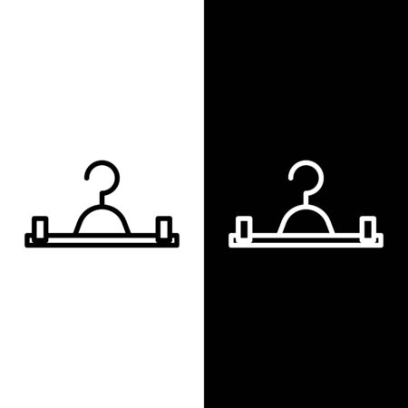 Set line Hanger wardrobe icon isolated on black and white background. Cloakroom icon. Clothes service symbol. Laundry hanger sign. Vector Illustration