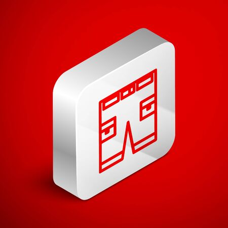 Isometric line Short or pants icon isolated on red background. Silver square button. Vector Illustration