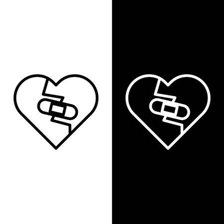 Set line Healed broken heart or divorce icon isolated on black and white background. Shattered and patched heart. Love symbol. Valentines day. Vector Illustration Ilustração