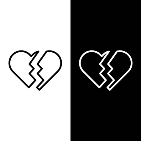 Set line Broken heart or divorce icon isolated on black and white background. Love symbol. Valentines day. Vector Illustration Illustration