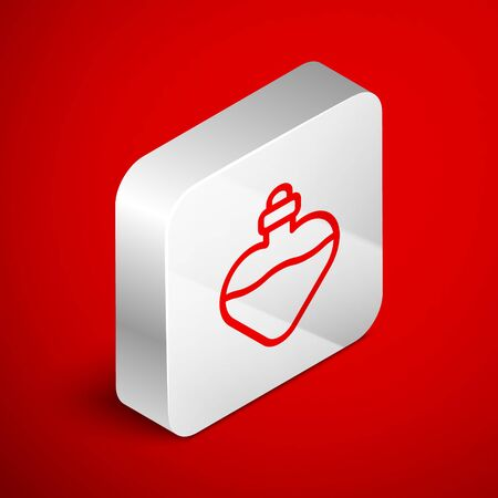 Isometric line Bottle with love potion icon isolated on red background. Valentines day symbol. Silver square button. Vector Illustration 일러스트