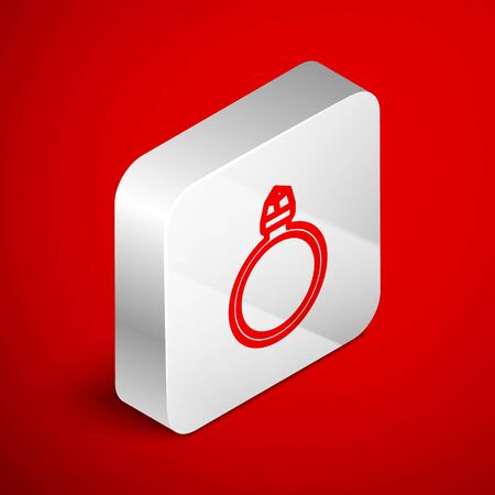 Isometric line Diamond engagement ring icon isolated on red background. Silver square button. Vector Illustration