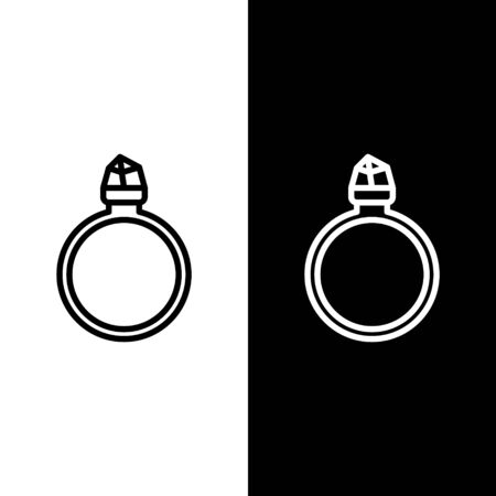 Set line Diamond engagement ring icon isolated on black and white background. Vector Illustration