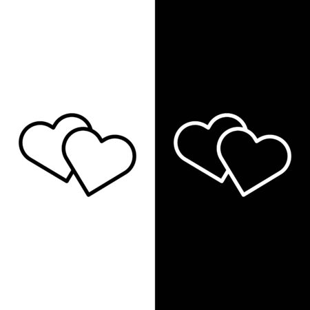 Set line Heart icon isolated on black and white background. Romantic symbol linked, join, passion and wedding. Valentine day symbol. Vector Illustration