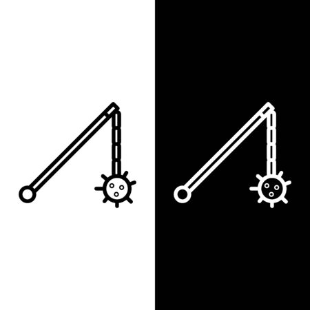 Set line Medieval chained mace ball icon isolated on black and white background. Medieval weapon. Vector Illustration