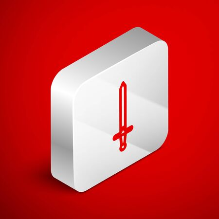 Isometric line Medieval sword icon isolated on red background. Medieval weapon. Silver square button. Vector Illustration  イラスト・ベクター素材