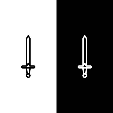 Set line Medieval sword icon isolated on black and white background. Medieval weapon. Vector Illustration