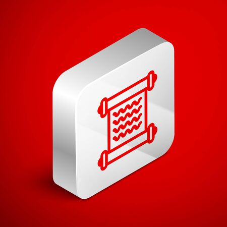 Isometric line Decree, paper, parchment, scroll icon icon isolated on red background. Silver square button. Vector Illustration Ilustração