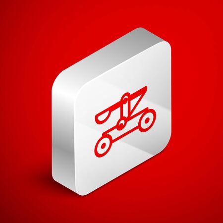 Isometric line Old medieval wooden catapult shooting stones icon isolated on red background. Silver square button. Vector Illustration Banco de Imagens - 138253929