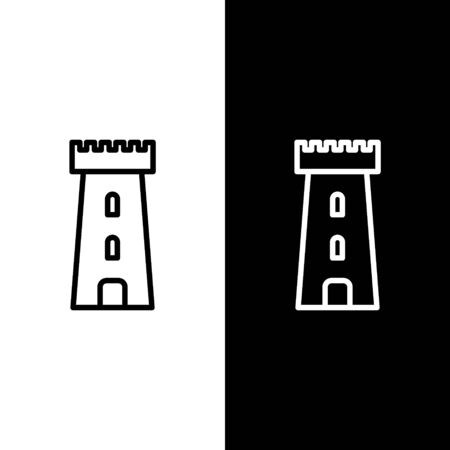 Set line Castle tower icon isolated on black and white background. Fortress sign. Vector Illustration