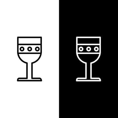 Set line Medieval goblet icon isolated on black and white background. Vector Illustration Vettoriali