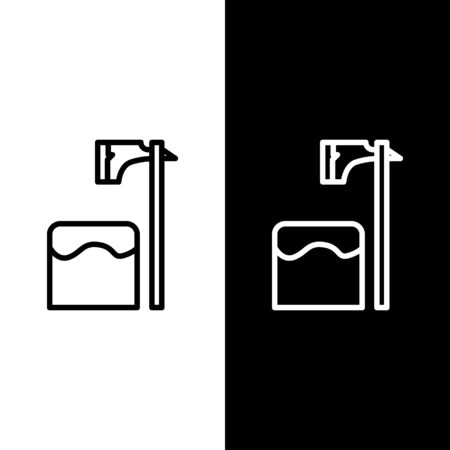 Set line Executioner axe in tree block icon isolated on black and white background. Hangman, torturer, executor, tormentor, butcher, headsman. Vector Illustration