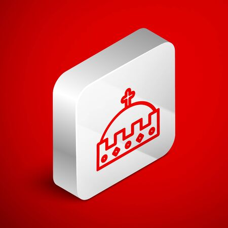 Isometric line King crown icon isolated on red background. Silver square button. Vector Illustration