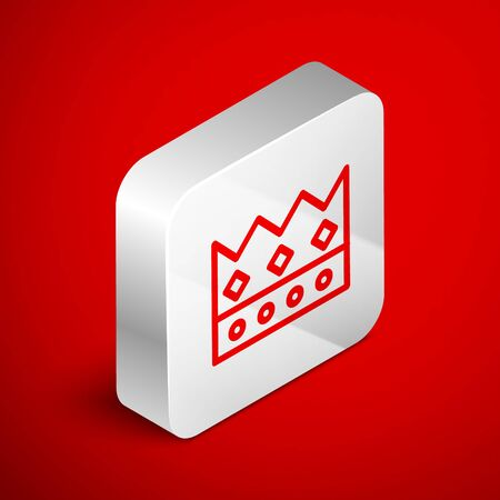 Isometric line King crown icon isolated on red background. Silver square button. Vector Illustration 版權商用圖片 - 138255958