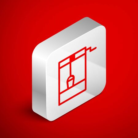 Isometric line Well with a bucket and drinking water icon isolated on red background. Silver square button. Vector Illustration