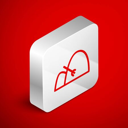 Isometric line Bale of hay and rake icon isolated on red background. Silver square button. Vector Illustration