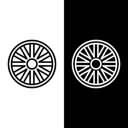 Set line Old wooden wheel icon isolated on black and white background. Vector Illustration Stock Illustratie