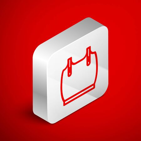 Isometric line Body armor icon isolated on red background. Silver square button. Vector Illustration
