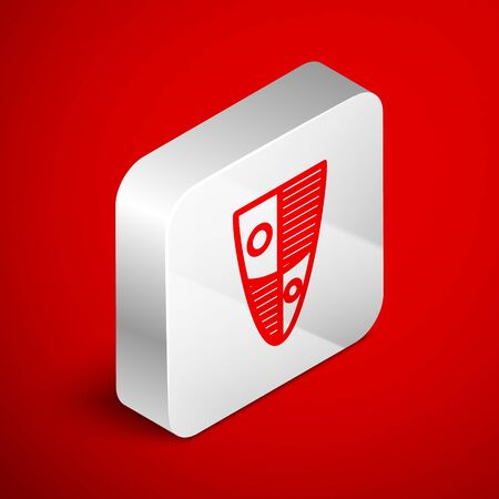Isometric line Shield icon isolated on red background. Guard sign. Security, safety, protection, privacy concept. Silver square button. Vector Illustration
