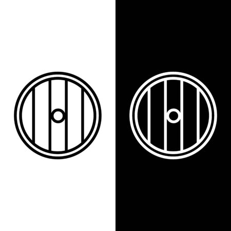 Set line Round wooden shield icon isolated on black and white background. Security, safety, protection, privacy, guard concept. Vector Illustration