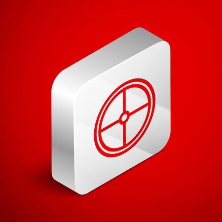 Isometric line Round wooden shield icon isolated on red background. Security, safety, protection, privacy, guard concept. Silver square button. Vector Illustration