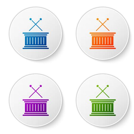 Color Musical instrument drum and drum sticks icon isolated on white background. Set icons in circle buttons. Vector Illustration