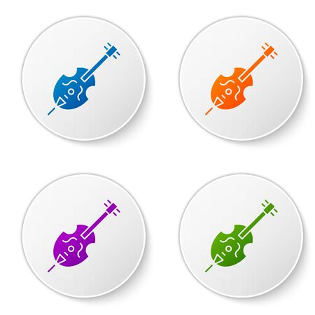 Color Violin icon isolated on white background. Musical instrument. Set icons in circle buttons. Vector Illustration