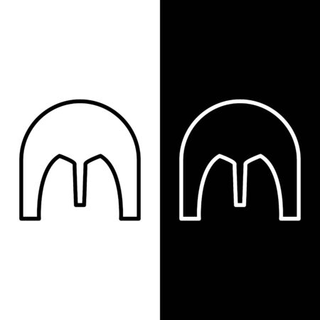 Set line Medieval iron helmet for head protection icon isolated on black and white background. Vector Illustration